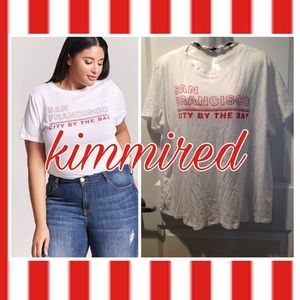 Forever 21 White/Red San Francisco Tee ~ 2X ~ EUC